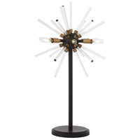 Spiked 31 inch 60 watt Painted Bronze with Natural Brush Table Lamp Portable Light