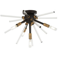 George Kovacs P1799-416 Spiked 4 Light 20 inch Painted Bronze with Natural Brush Flush Mount Ceiling Light