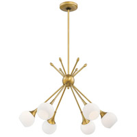 Pontil 6 Light 24 inch Honey Gold Chandelier Ceiling Light in Etched White