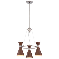 George Kovacs P1823-651 Conic 3 Light 20 inch Distressed Koa Mini Chandelier Ceiling Light