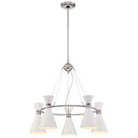 George Kovacs P1825-44F Conic 5 Light 26 inch Glitter Gloss White Chandelier Ceiling Light in Brushed Nickel