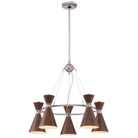 George Kovacs P1825-651 Conic 5 Light 26 inch Distressed Koa Chandelier Ceiling Light in Brushed Nickel