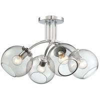 George Kovacs P1845-077 Exposed 4 Light 19 inch Chrome Semi Flush Mount Ceiling Light