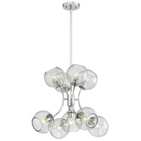 Exposed 9 Light 23 inch Chrome Chandelier Ceiling Light