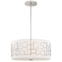 Alecias Necklace 3 Light 18 inch Brushed Nickel Drum Pendant Ceiling Light