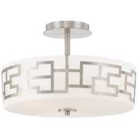 Alecias Necklace 3 Light 15 inch Brushed Nickel Semi Flush Mount Ceiling Light