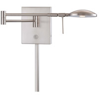 Georges Reading Room 4 inch 8 watt Brushed Nickel Swing Arm Wall Lamp Wall Light