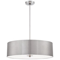 Grid 4 Light 24 inch Brushed Nickel Drum Pendant Ceiling Light