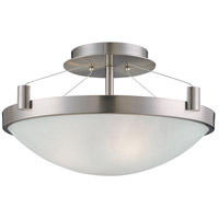 George Kovacs P591-084 Suspended 3 Light 17 inch Brushed Nickel Semi Flush Mount Ceiling Light