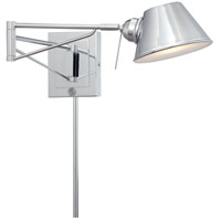 George Kovacs P611-077-L Georges Reading Room 8 inch 8 watt Chrome Swing Arm Wall Sconce Wall Light in LED Convertible To Pin-Up