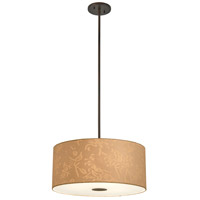 George Kovacs P8081-615 Kimono 3 Light 18 inch Antique Dorian Bronze Drum Pendant Ceiling Light