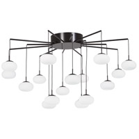 Georges Web LED 34 inch Bronze with Gold Dust Chandelier Ceiling Light, Convertible to Semi-Flush