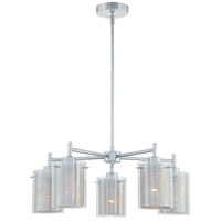 Grid 5 Light 24 inch Chrome Chandelier Ceiling Light