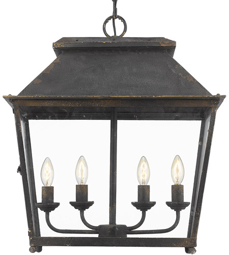 Golden Lighting 0804-4P-ABI Abingdon 4 Light 21 inch Antique Black Iron Pendant Lantern Ceiling Light photo