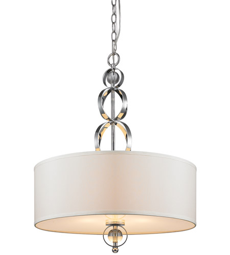 Golden Lighting Cerchi 3 Light Pendant in Chrome with Opal Satin Shade 1030-3P-CH photo
