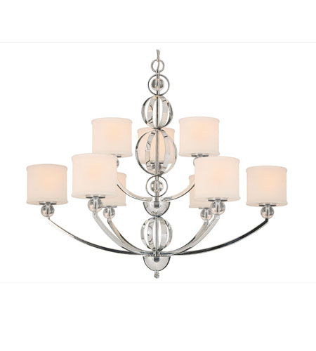Golden Lighting Cerchi 9 Light Chandelier in Chrome with Etched Opal Glass 1030-9-CH photo