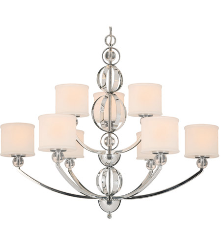 Golden Lighting 1030-9-CH Cerchi 9 Light 38 inch Chrome Chandelier Ceiling Light, 2 Tier photo