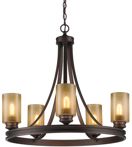Golden Lighting Hidalgo 5 Light Chandelier in Sovereign Bronze with Regal Glass 1051-5-SBZ photo