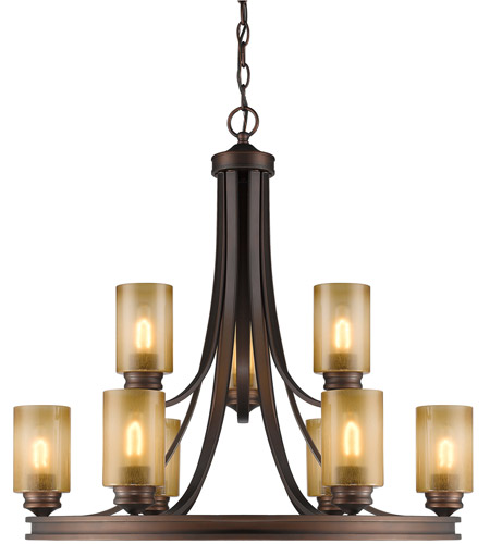 Golden Lighting 1051-9-SBZ Hidalgo 9 Light 32 inch Sovereign Bronze Chandelier Ceiling Light in Regal Glass, 2 Tier photo