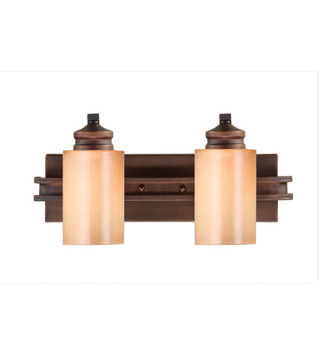 Golden Lighting Hidalgo 2 Light Bath Fixture in Sovereign Bronze with Regal Glass 1051-BA2-SBZ photo