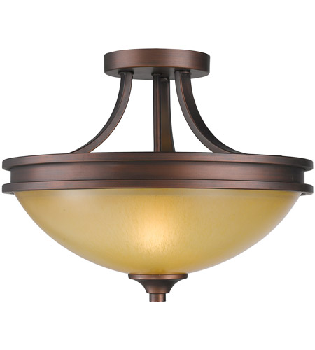 Golden Lighting Hidalgo 2 Light Semi-Flush in Sovereign Bronze with Regal Glass 1051-SF-SBZ photo