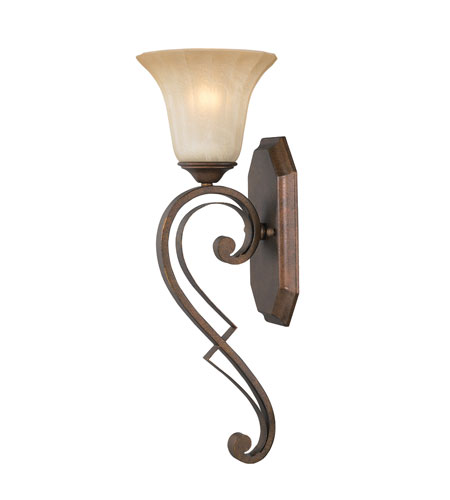 Golden Lighting Pemberly Court 1 Light Wall Sconce in Russet Bronze with Swirled Ivory Glass 1089-1W-RSB photo