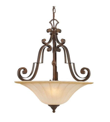 Golden Lighting Pemberly Court 3 Light Bowl Pendant in Russet Bronze with Swirled Ivory Glass 1089-3P-RSB photo