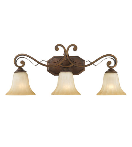 Golden Lighting Pemberly Court 3 Light Bath Fixture in Russet Bronze with Swirled Ivory Glass 1089-BA3-RSB photo