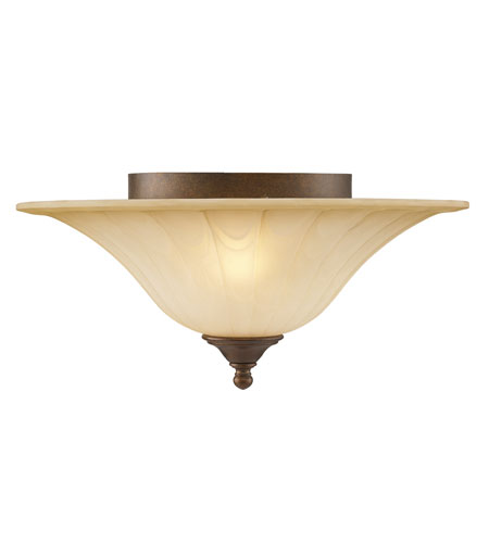 Golden Lighting Pemberly Court 2 Light Flush Mount in Russet Bronze with Swirled Ivory Glass 1089-FM-RSB photo