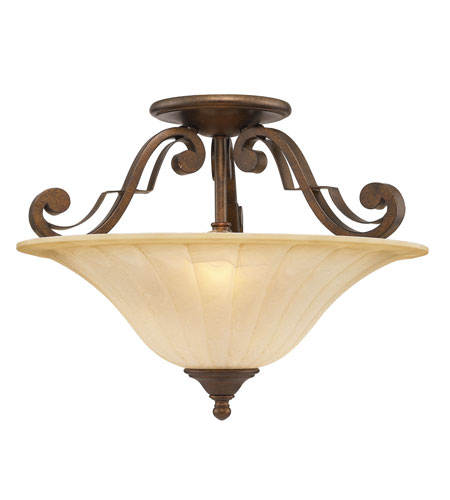 Golden Lighting Pemberly Court 2 Light Convertible Semi-Flush in Russet Bronze with Swirled Ivory Glass 1089-SF-RSB photo