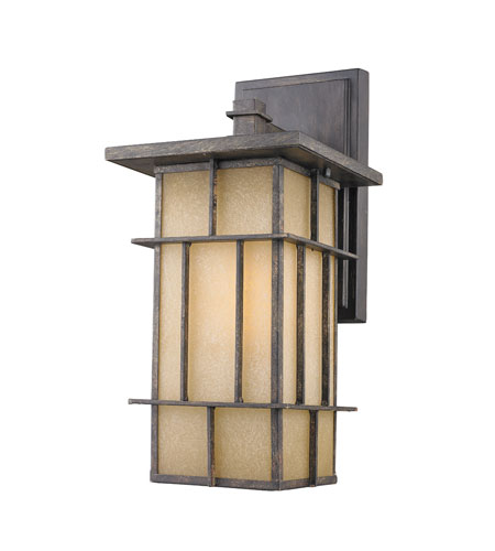 Golden Lighting Tucson 1 Light Outdoor Wall Lantern in Weathered Iron 11705-L-WI-es photo