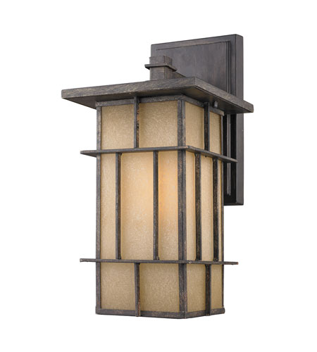 Golden Lighting Tucson 1 Light Outdoor Wall Lantern in Weathered Iron 11705-M-WI photo
