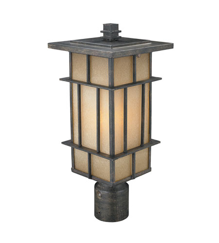 Golden Lighting Tucson 1 Light Outdoor Post Lantern in Weathered Iron 11705-P-WI-es photo