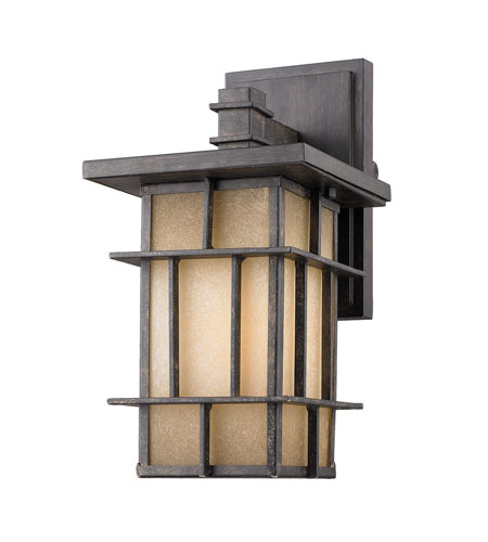 Golden Lighting Tucson 1 Light Outdoor Wall Lantern In Weathered Iron  11705 S WI