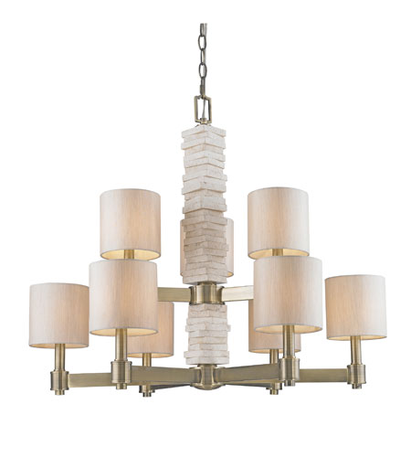 Golden Lighting Corsica 9 Light Chandelier in Antique Brass with Silken Parchment Shade 1212-9-AB photo