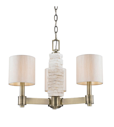 Golden Lighting Corsica 3 Light Mini Chandelier in Antique Brass with Silken Parchment Shade 1212-M3-AB photo