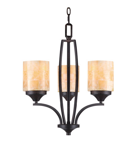 Golden Lighting Empyreal 3 Light Mini Chandelier in Roan Timber 1220-M3-RT photo