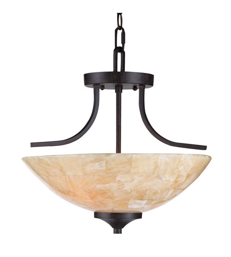 Golden Lighting Empyreal 3 Light Convertible Semi-Flush Mount in Roan Timber 1220-SF-RT photo