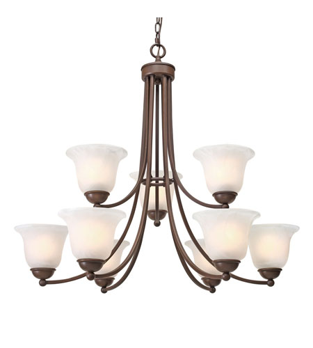 Golden Lighting Candace 9 Light Chandelier in Rubbed Bronze with Marbled Glass 1260-9-RBZ photo
