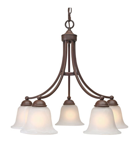 Golden Lighting Candace 5 Light Chandelier in Rubbed Bronze with Marbled Glass 1260-D5-RBZ photo