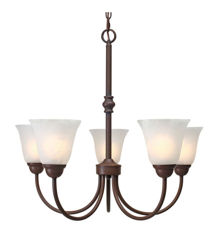 Golden Lighting Grace 5 Light Chandelier in Rubbed Bronze with Marbled Glass 1264-5-RBZ photo
