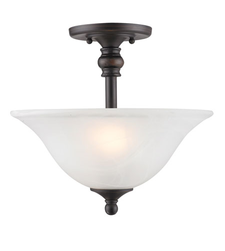 Golden Lighting Grace 2 Light Semi-Flush in Rubbed Bronze with Marbled Glass 1264-SF-RBZ photo
