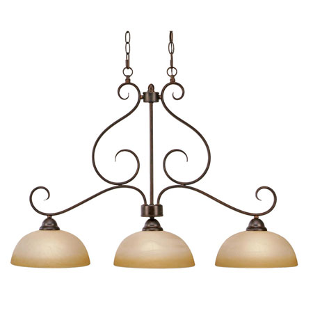 Golden Lighting Riverton 3 Light Island Light in Peppercorn with Linen Swirl Glass 1567-10-PC photo