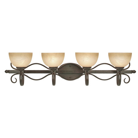 Golden Lighting Riverton 4 Light Bath Fixture in Peppercorn with Linen Swirl Glass 1567-BA4-PC photo