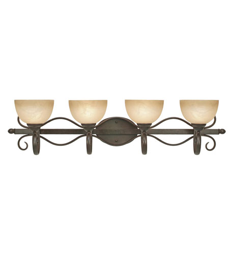 Golden Lighting 1567-BA4-PC Riverton 4 Light 40 inch Peppercorn Bath Vanity Wall Light photo