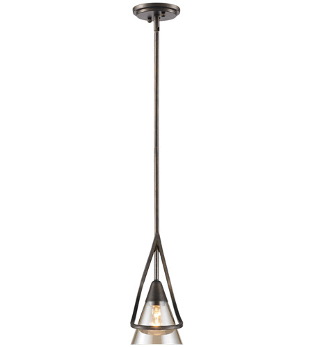 Golden Lighting Olympia 1 Light Mini Pendant in Burnt Sienna with Baltic Amber Glass 1648-M1L-BUS photo