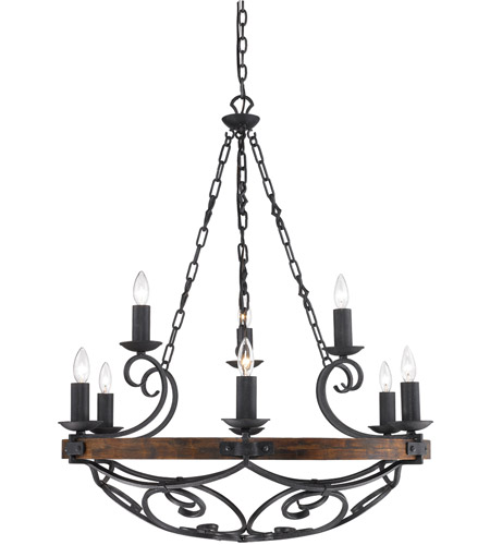 Golden Lighting Madera 9 Light Chandelier in Black Iron with Metal Candle Sleeves 1821-9-BI photo