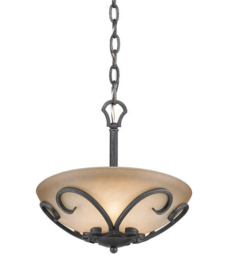 Golden Lighting Madera 3 Light Semi-Flush (Convertible) in Black Iron 1821-SF-BI photo