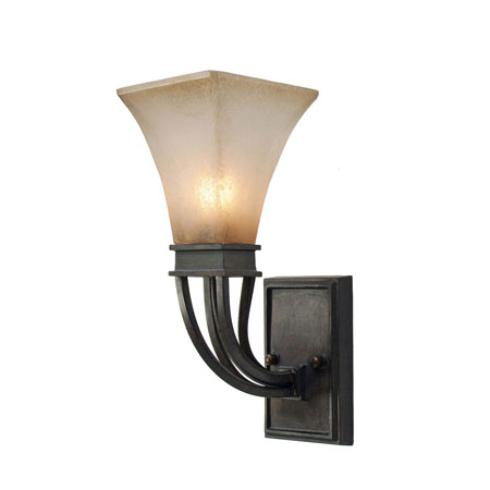 Golden Lighting Genesis 1 Light Wall Sconce in Roan Timber with Evolution Glass 1850-1W-RT photo