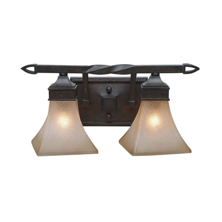 Golden Lighting Genesis 2 Light Bath Fixture in Roan Timber with Evolution Glass 1850-BA2-RT photo